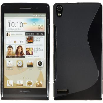 Silicone Case for Huawei Ascend P6 S-Style black