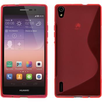 Silicone Case for Huawei Ascend P7 S-Style red