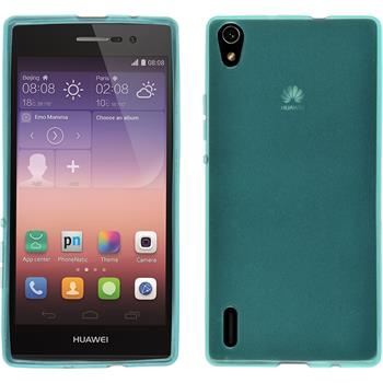 Silicone Case for Huawei Ascend P7 transparent turquoise