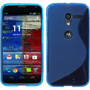 Silikon Hülle Moto X S-Style blau + 2 Schutzfolien