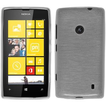 Silikon Hülle Nokia Lumia 520 brushed weiß + 2 Schutzfolien