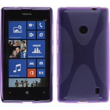 Silikon Hülle Nokia Lumia 525 X-Style lila + 2 Schutzfolien