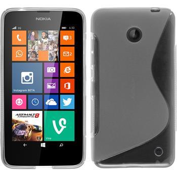 Silikon Hülle Nokia Lumia 630 S-Style clear + 2 Schutzfolien