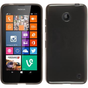 Silikon Hülle Nokia Lumia 630 transparent schwarz + 2 Schutzfolien