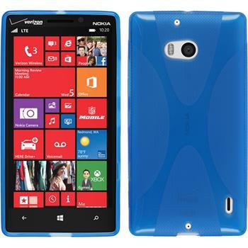 Silikon Hülle Nokia Lumia 930 X-Style blau + 2 Schutzfolien
