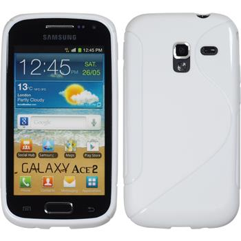 Silikon Hülle Galaxy Ace 2 S-Style weiß + 2 Schutzfolien