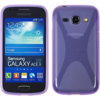 Silikon Hülle Galaxy Ace 3 X-Style grau + 2 Schutzfolien