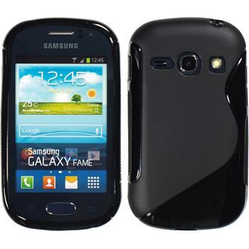 Silikon Hülle Galaxy Fame S-Style schwarz + 2 Schutzfolien