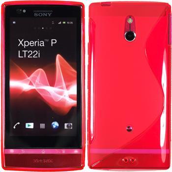 Silikon Hülle Xperia P S-Style pink + 2 Schutzfolien