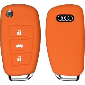 Silikon Schlüssel Hülle für die Audi A3 3-Tasten Fernbedienung in orange Klappschlüssel