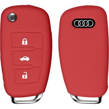 Silikon Schlüssel Hülle für die Audi A3 3-Tasten Fernbedienung in rot Klappschlüssel