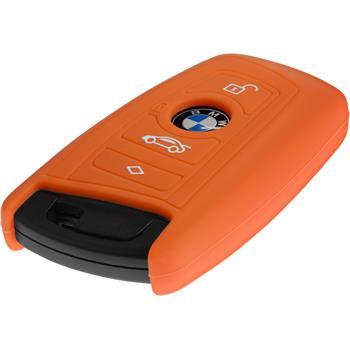 Silikon Schlüssel Hülle BMW 3er E90 - 5er F10 - 7er F01 4-Tasten Fernbedienung orange Funkschlüssel