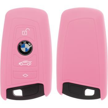 Silikon Schlüssel Hülle BMW 3er E90 - 5er F10 - 7er F01 4-Tasten Fernbedienung rosa Funkschlüssel