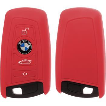 Silikon Schlüssel Hülle BMW 3er E90 - 5er F10 - 7er F01 4-Tasten Fernbedienung rot Funkschlüssel
