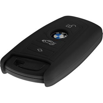 Silikon Schlüssel Hülle BMW 3er E90 - 5er F10 - 7er F01 4-Tasten Fernbedienung schwarz Funkschlüssel