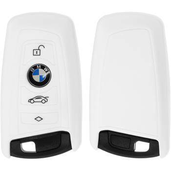 Silikon Schlüssel Hülle BMW 3er E90 - 5er F10 - 7er F01 4-Tasten Fernbedienung weiß Funkschlüssel