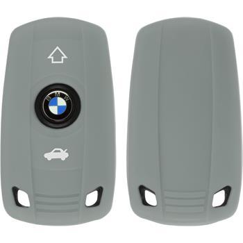 Silikon Schlüssel Hülle für die BMW 3er E46 - 5er E60 2-Tasten Fernbedienung in grau Funkschlüssel