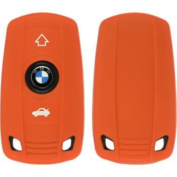 Silikon Schlüssel Hülle BMW 3er E46 - 5er E60 3-Tasten Fernbedienung orange Funkschlüssel