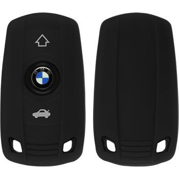 Silikon Schlüssel Hülle für die BMW 5er 2-Tasten Fernbedienung in schwarz Funkschlüssel