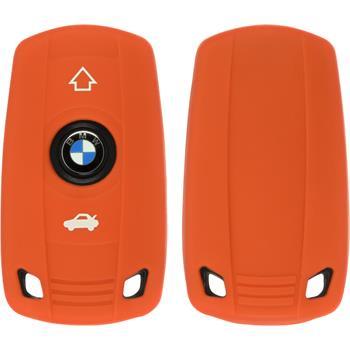 Silikon Schlüssel Hülle BMW X1 E84 - X3 E83 - X5 E70 3-Tasten Fernbedienung orange Funkschlüssel