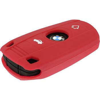 Silikon Schlüssel Hülle BMW X1 E84 - X3 E83 - X5 E70 3-Tasten Fernbedienung rot Funkschlüssel