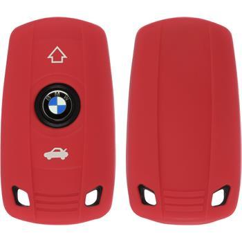 Silikon Schlüssel Hülle BMW X1 F48 - X3 F25 - X5 F15 - X6 F16 3-Tasten Fernbedienung rot Funkschlüssel