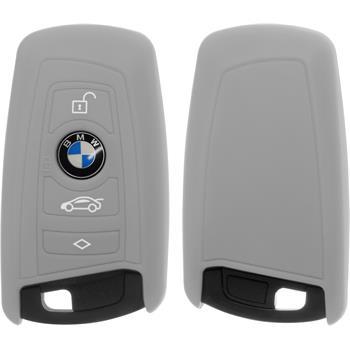 Silikon Schlüssel Hülle BMW X1 F48 - X3 F25 - X5 F15 - X6 F16 3-Tasten Fernbedienung grau Funkschlüssel