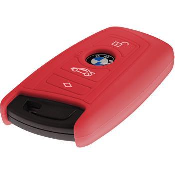 Silikon Schlüssel Hülle BMW X3 F25 - X5 F15 - X6 F16 4-Tasten Fernbedienung rot Funkschlüssel