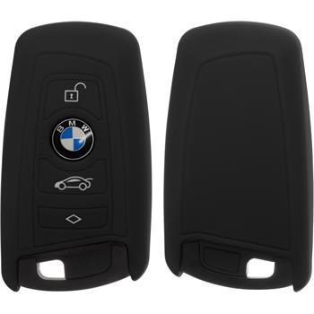 Silikon Schlüssel Hülle BMW X1 F48 - X3 F25 - X5 F15 - X6 F16 3-Tasten Fernbedienung schwarz Funkschlüssel