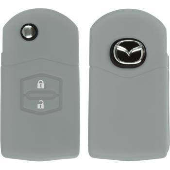 Silikon Schlüssel Hülle Mazda 2 2-Tasten Fernbedienung grau Klappschlüssel