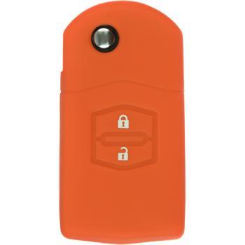 Silikon Schlüssel Hülle Mazda 2 2-Tasten Fernbedienung orange Klappschlüssel