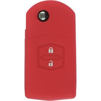 Silikon Schlüssel Hülle Mazda 2 2-Tasten Fernbedienung rot Klappschlüssel
