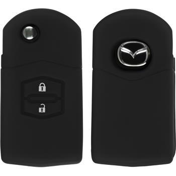 Silikon Schlüssel Hülle Mazda 2 2-Tasten Fernbedienung schwarz Klappschlüssel