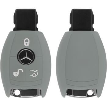 Silikon Schlüssel Hülle für die Mercedes-Benz B / C Klasse 3-Tasten Fernbedienung in grau Funkschlüssel