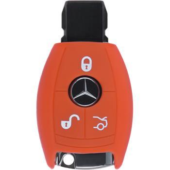 Silikon Schlüssel Hülle Mercedes-Benz B Klasse 3-Tasten Fernbedienung orange Funkschlüssel
