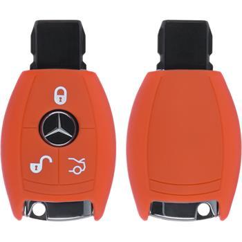 Silikon Schlüssel Hülle Mercedes-Benz E Klasse 3-Tasten Fernbedienung orange Funkschlüssel