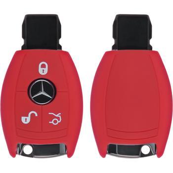 Silikon Schlüssel Hülle für die Mercedes-Benz B / C Klasse 3-Tasten Fernbedienung in rot Funkschlüssel