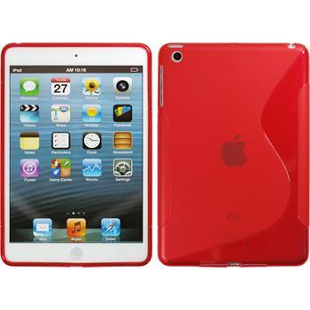 Silikon Hülle iPad Mini 3 2 1 S-Style rot + 2 Schutzfolien