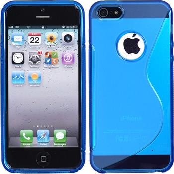Silikon Hülle iPhone 5 / 5s / SE S-Style Logo blau