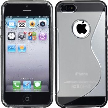 Silikon Hülle iPhone 5 / 5s / SE S-Style Logo grau