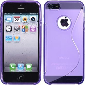 Silikon Hülle iPhone 5 / 5s / SE S-Style Logo lila