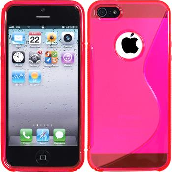 Silicone Case for Apple iPhone 5 / 5s S-Style logo hot pink