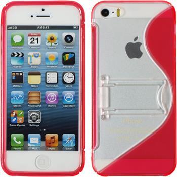 Silikon Hülle iPhone 5 / 5s / SE Aufstellbar rot + 2 Schutzfolien