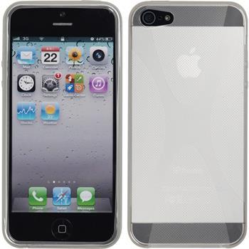 Silikon Hülle iPhone 5 / 5s / SE X-Style clear + 2 Schutzfolien