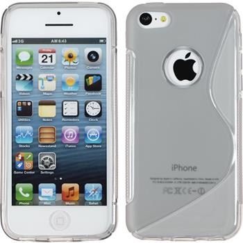 Silikon Hülle iPhone 5c S-Style Logo grau