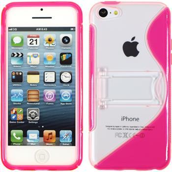 Silikon Hülle iPhone 5c Aufstellbar pink