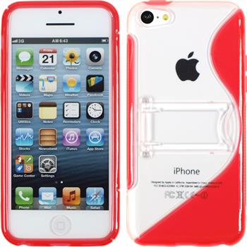 Silicone Case for Apple iPhone 5c stand function red
