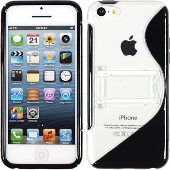 Silikon Hülle iPhone 5c Aufstellbar schwarz + 2 Schutzfolien