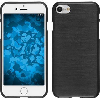 Silikon Hülle iPhone 7 / 8 brushed silber + 2 Schutzfolien