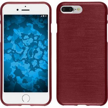 Silikon Hülle iPhone 7 Plus / 8 Plus brushed rot + 2 Schutzfolien